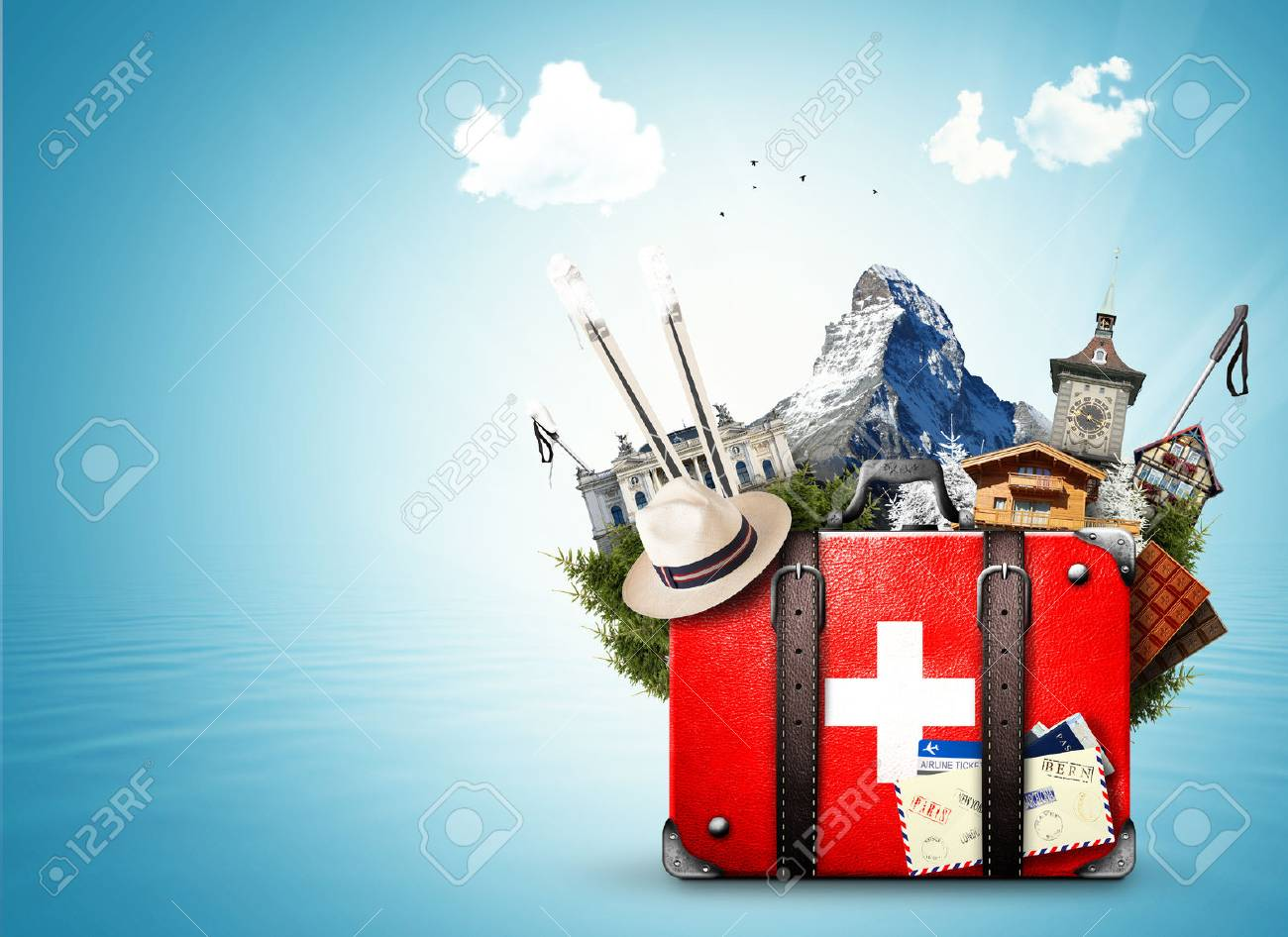 Switzerland, retro suitcase with the sights of Switzerland - 77388732
