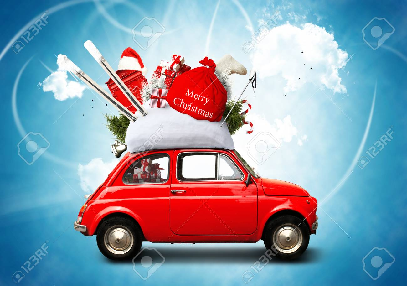 Christmas car Santa Claus with gift bag - 89672332