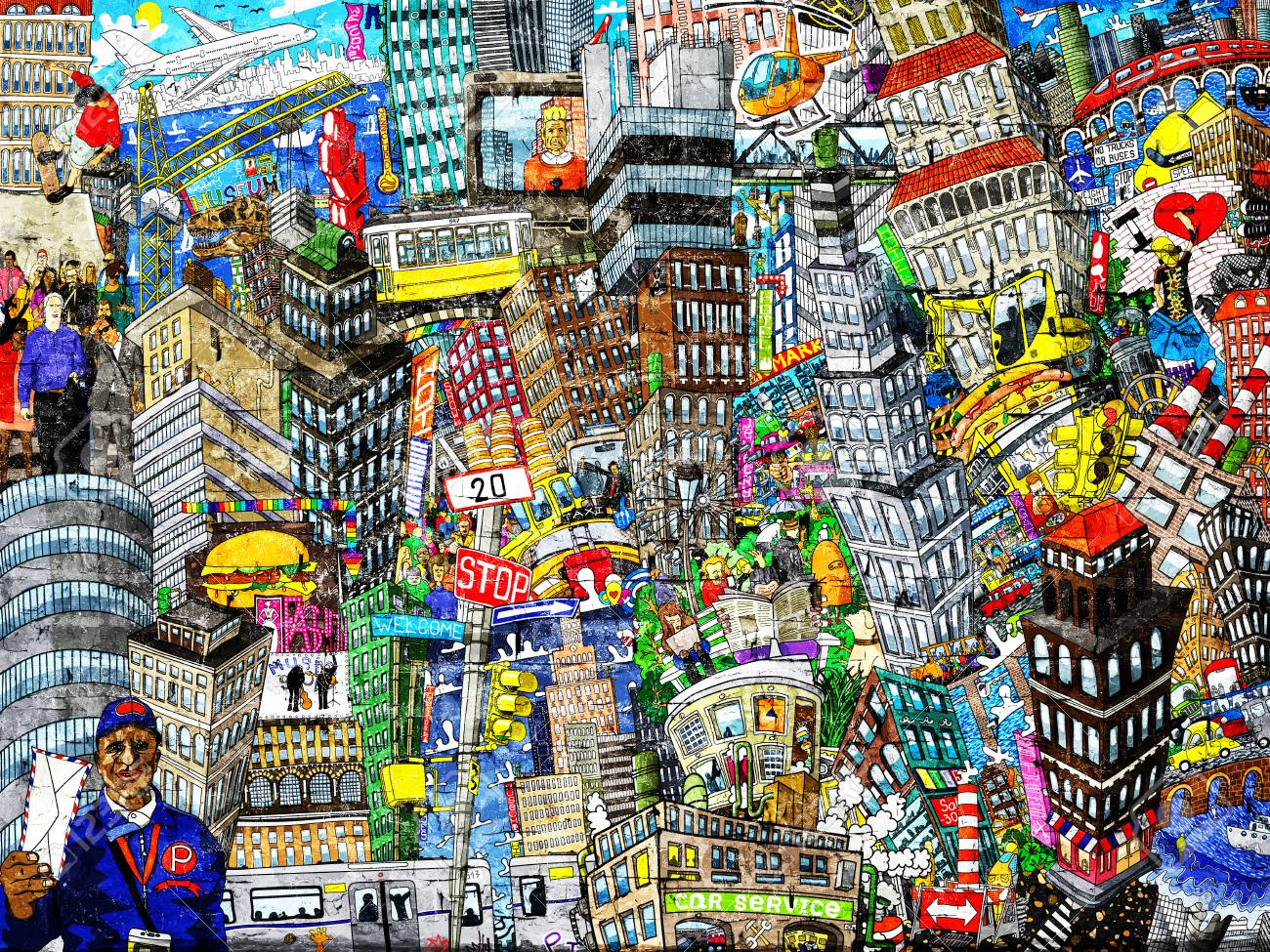 Graffiti, City, an illustration of a large collage, with houses, cars and people - 94420246
