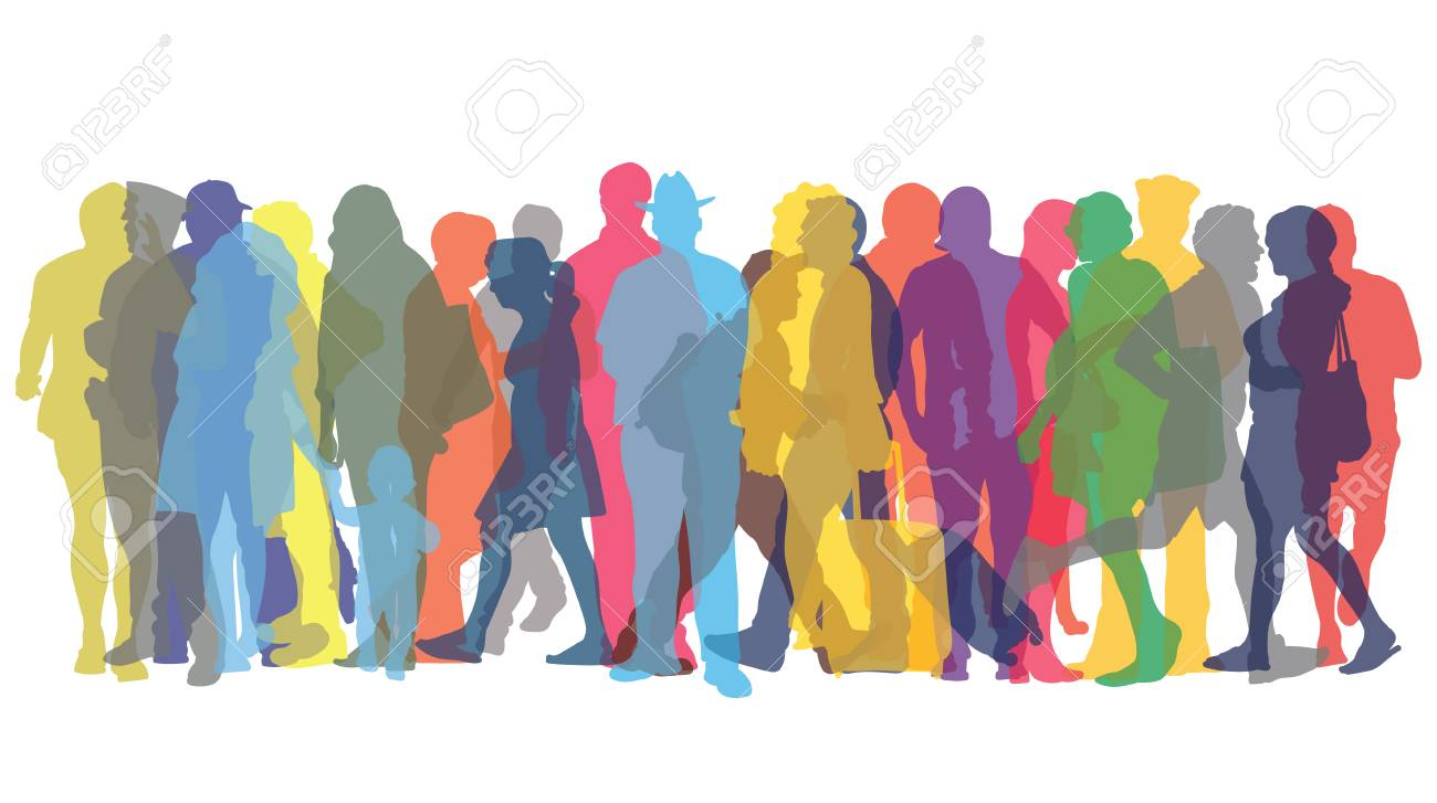 Vector illustration with colored figures of people - 98364058
