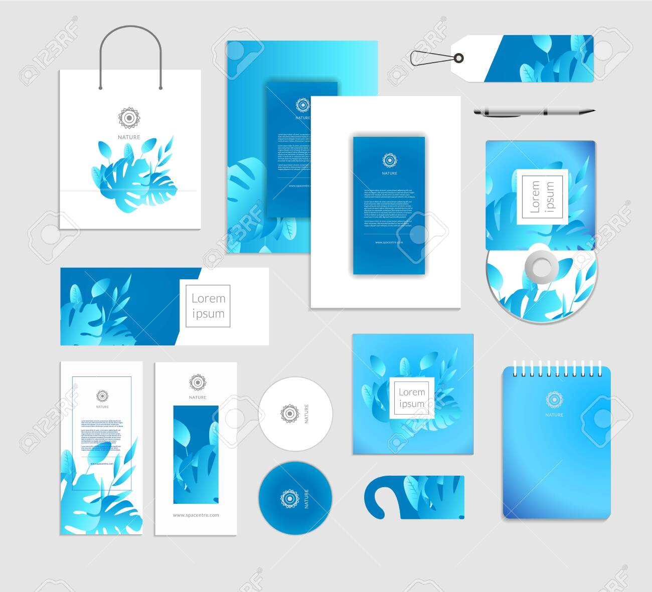 Corporate identity. Tropical leaves luxury concept. - 122350690