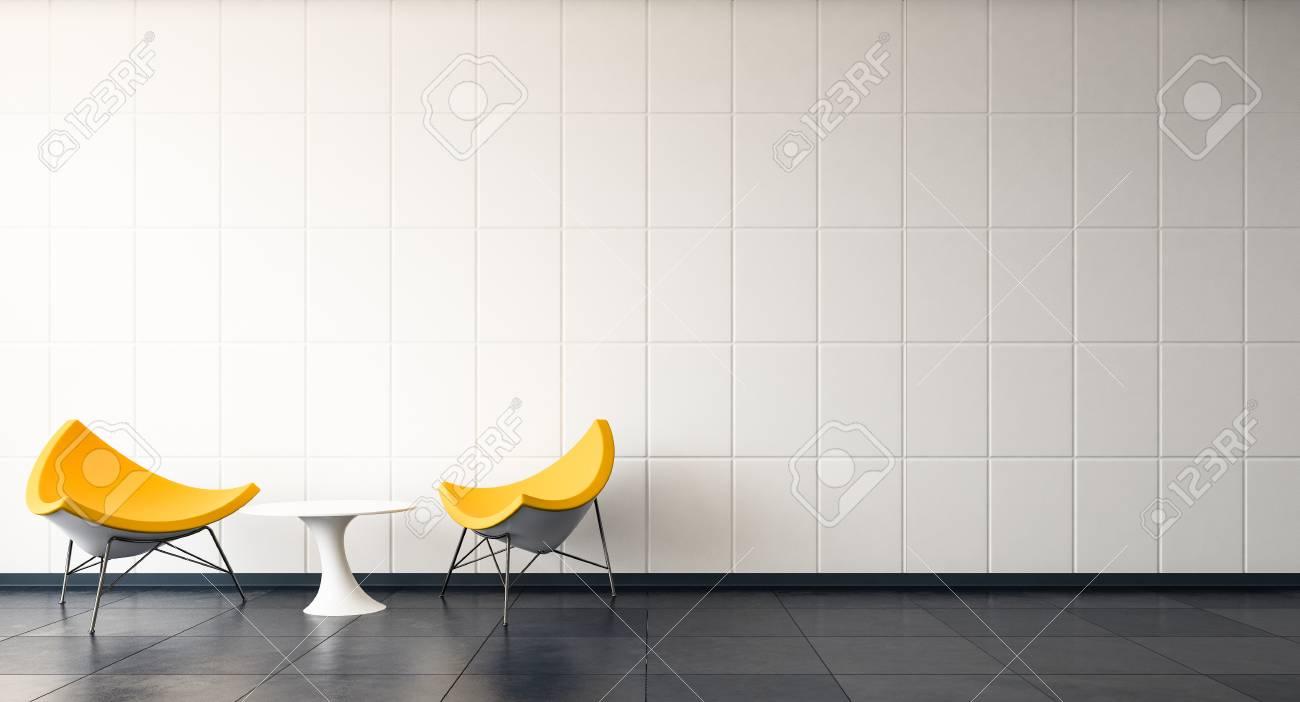 Banque Du0027images   Salon Moderne   Couple Chaise Jaune Avec Mur De Modèle De  Grille Blanche / 3d Render Image