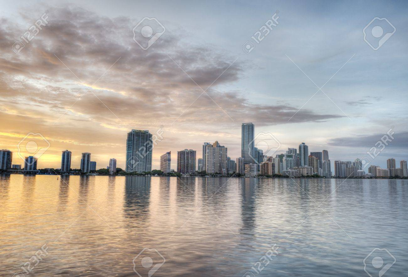 HDR Of Miami Skyline At Sunset Stock Photo