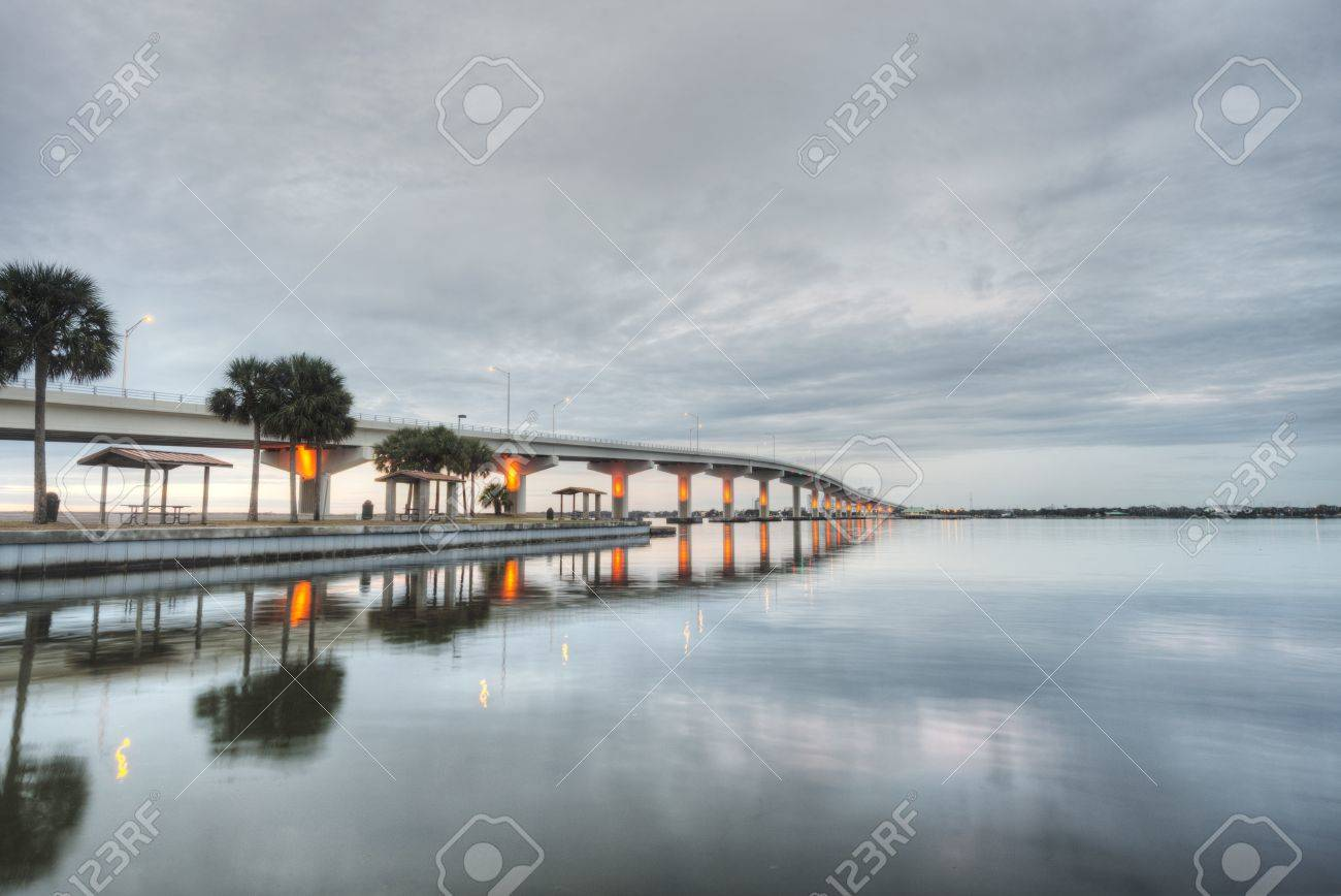 Maxwell Bruer Bridge in Titusville, Florida Stock Photo - 20365064