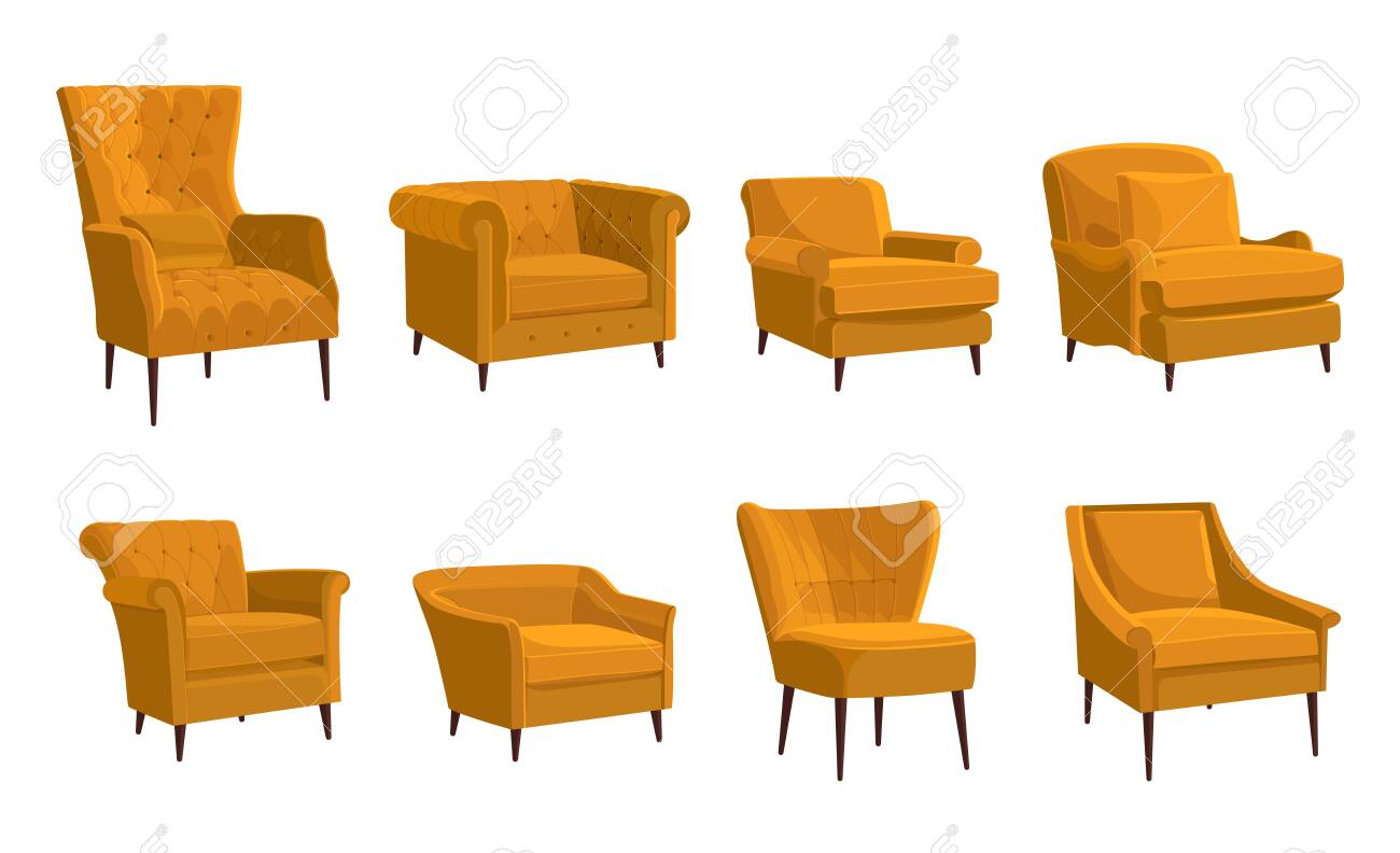 Scandinavian Style Set Vector Elements Different Types Of Armchairs Royalty Free Cliparts Vectors And Stock Illustration Image 148043910
