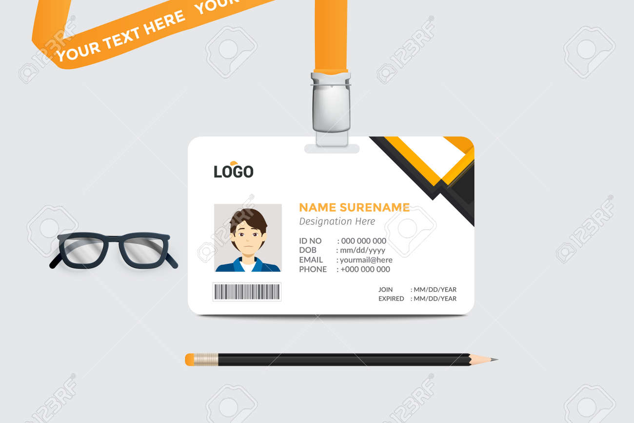 simple Id card template design with vector - 164465536