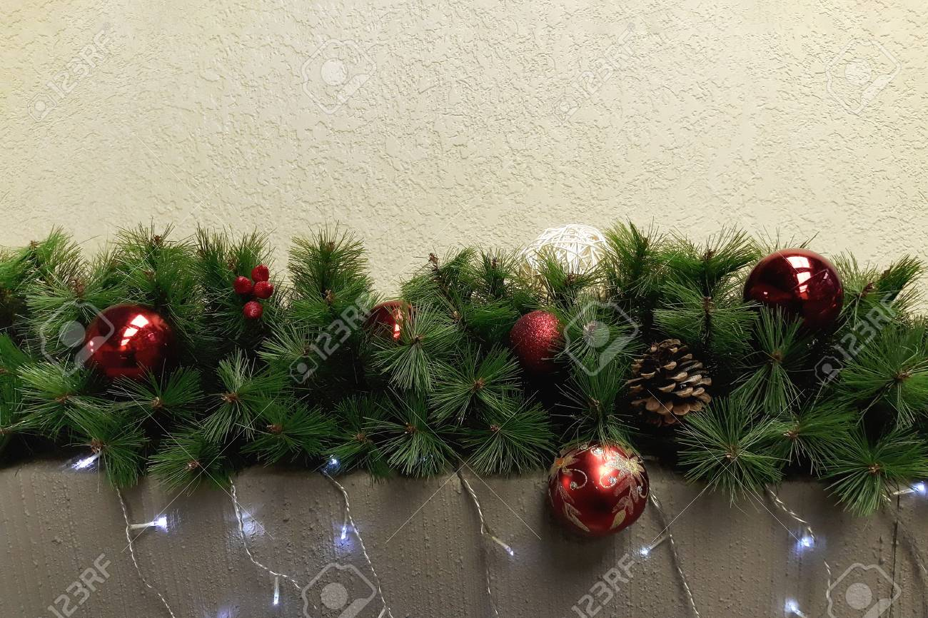 Christmas Garland In The Form Of Fir Branches Decorated With Stock Photo Picture And Royalty Free Image Image 114584502