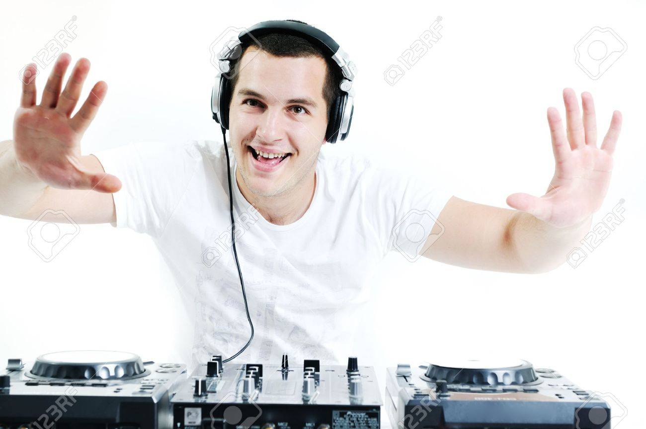 young dj man with headphones and compact disc dj equipment Stock Photo - 5288763