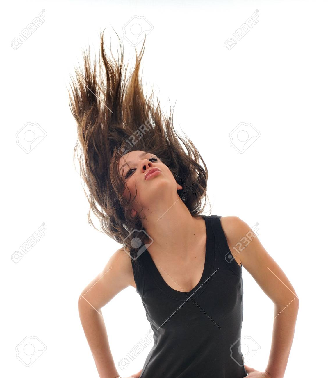 young beauty happy party woman dance with wind in hair isolated Stock Photo - 5289852