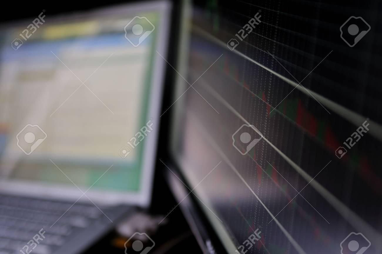 stock market graph on big lcd display closeup macro Stock Photo - 5266581