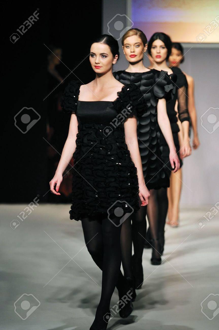 fashion show woman at piste walkinx in luxury dress Stock Photo - 5273266