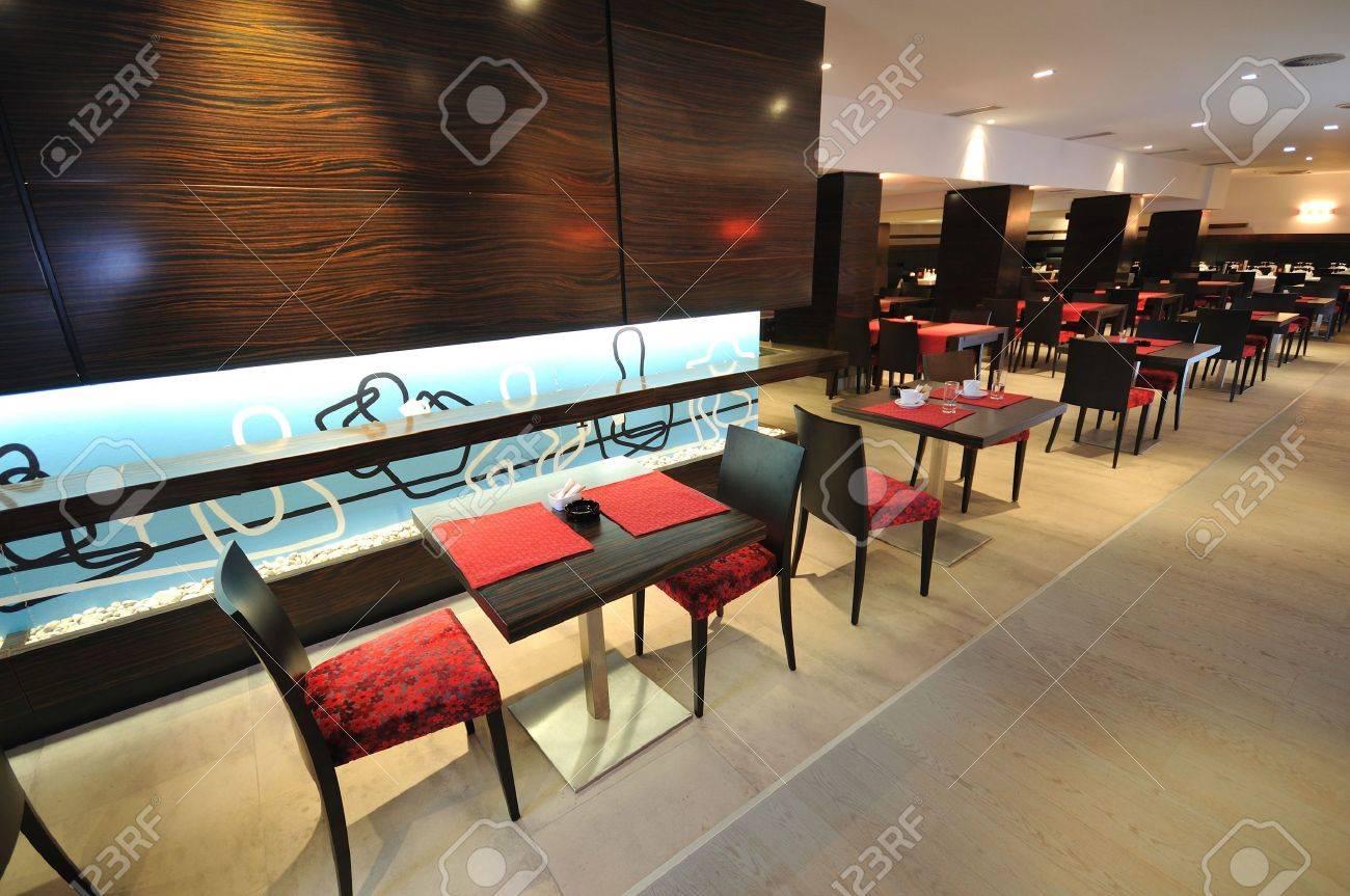Luxury restaurant furniture - Stock Photo Coffee Restaurant Indoor With Luxury Wooden Furniture