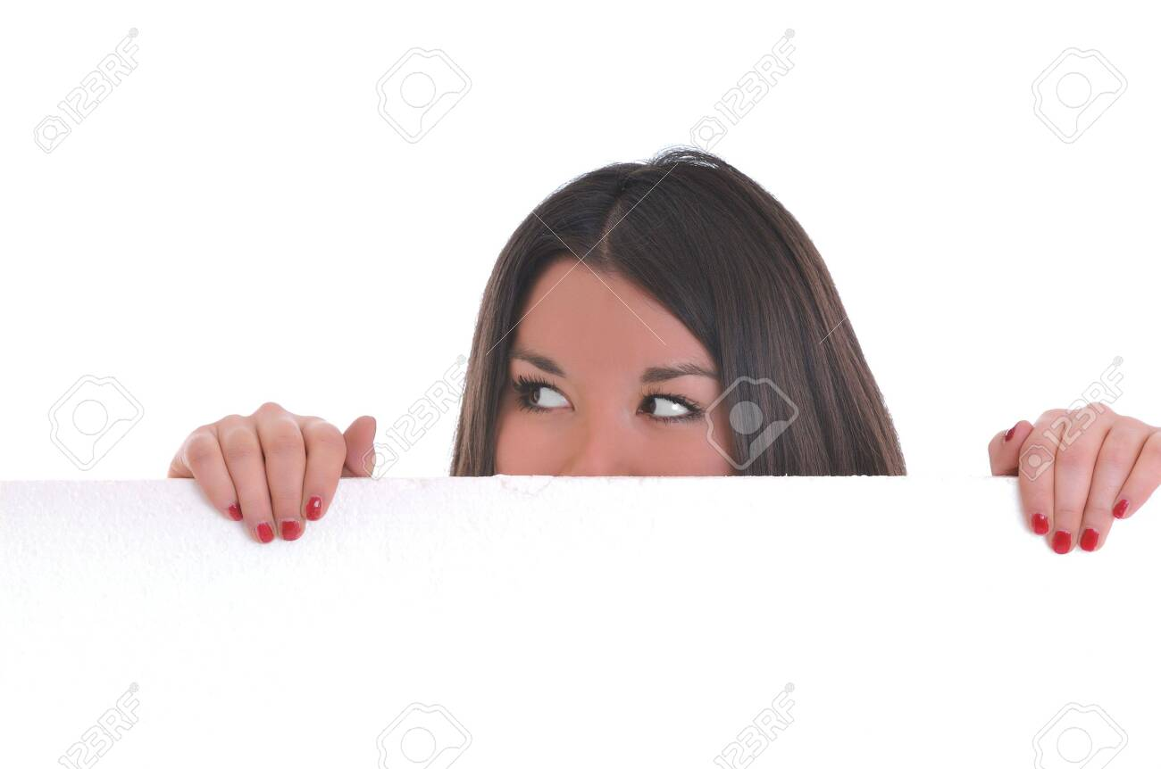 woman wall isolated copyspace board ad Stock Photo - 5288016