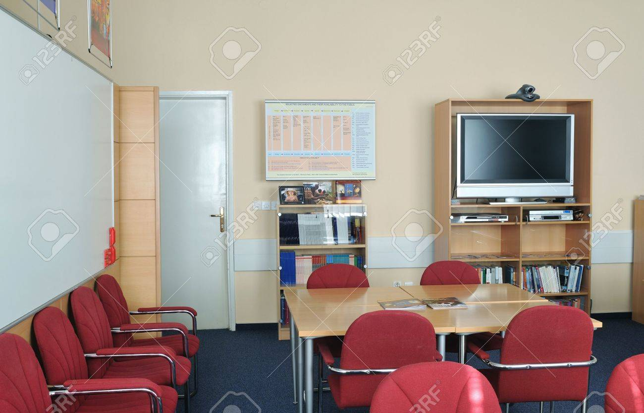 video conference room with chairs and big board  projector canvas and computer Stock Photo - 5478912