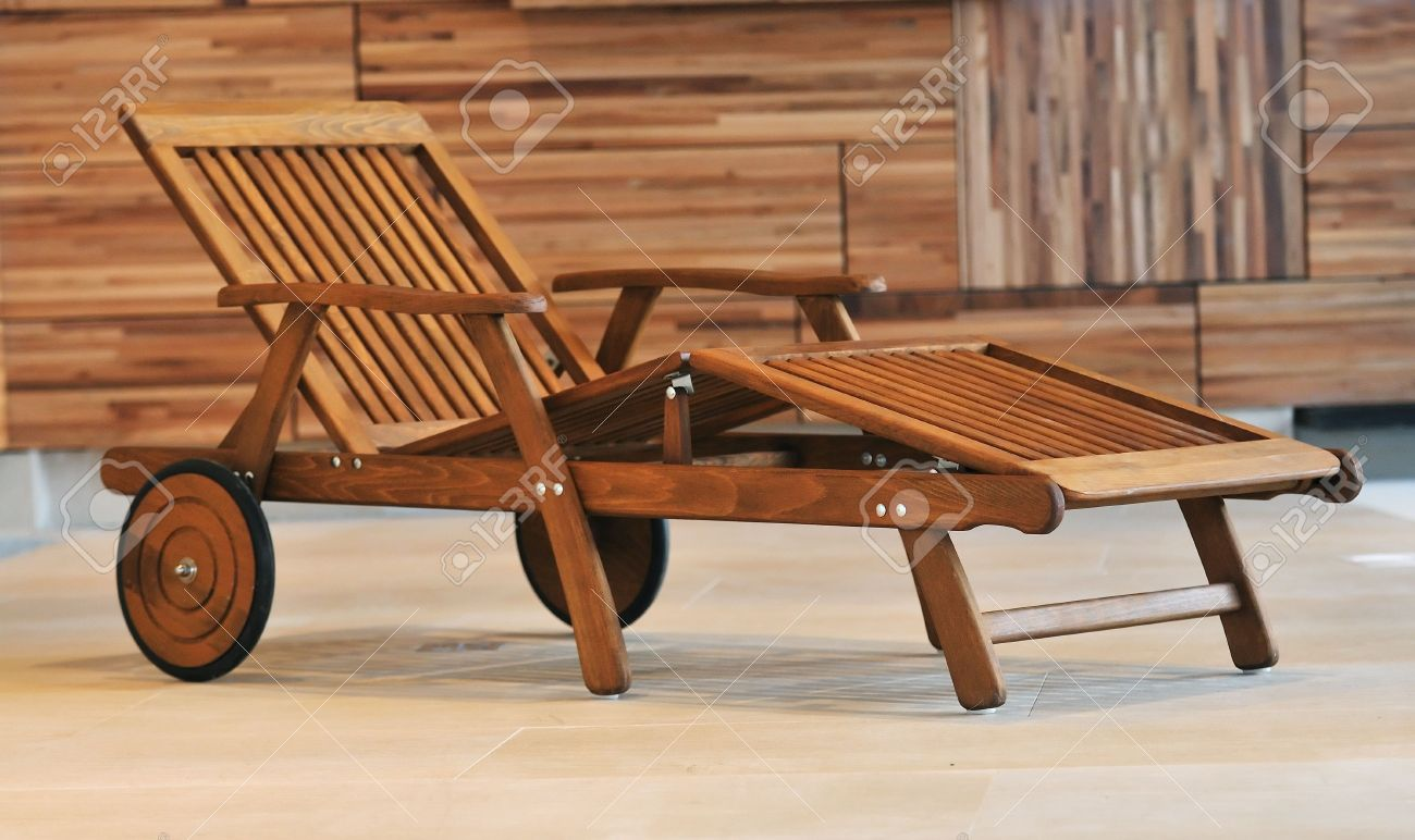 Stock Photo   Swimming Pool Wooden Chair Or Bed