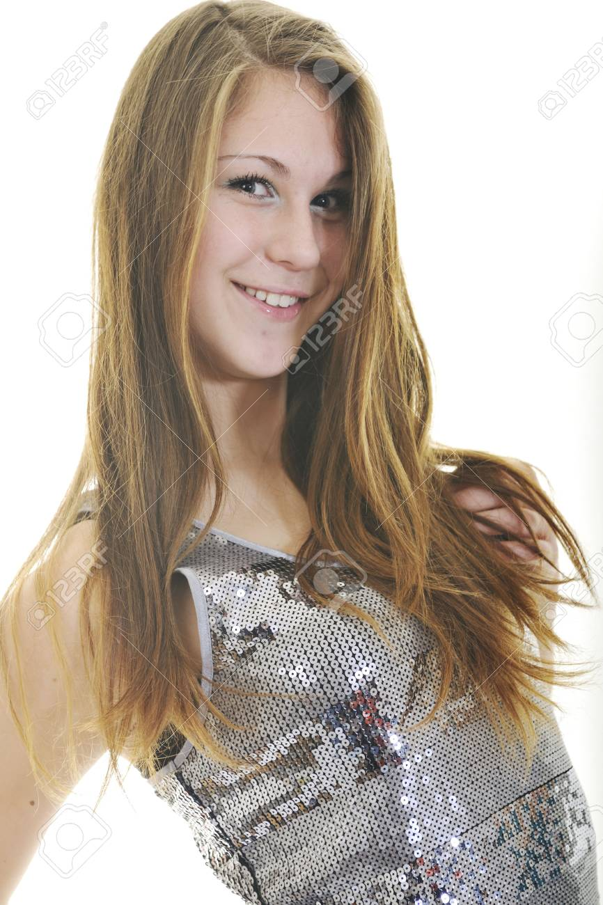 happy young teenage girl isolated on white in studio Stock Photo - 6228852