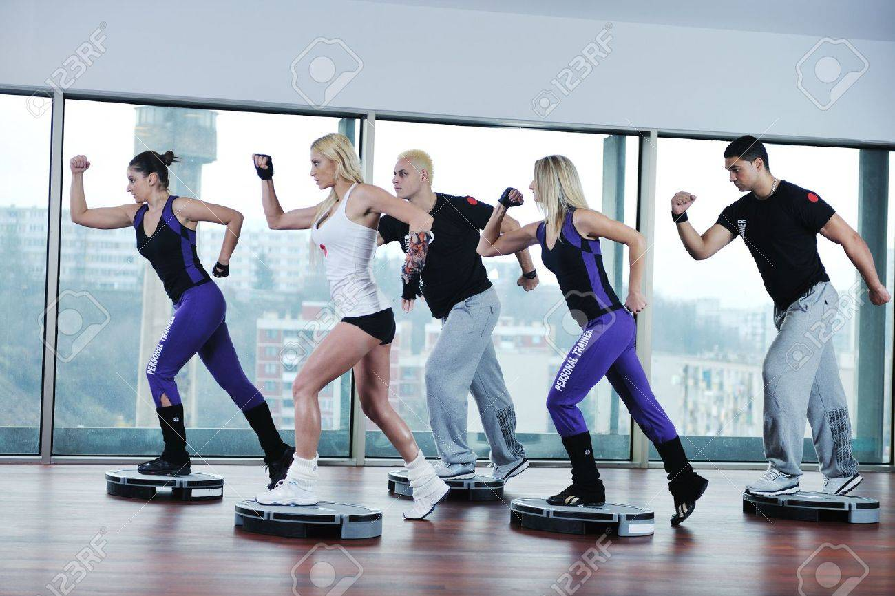 young healthy people group exercise fitness and get fit Stock Photo - 6455049