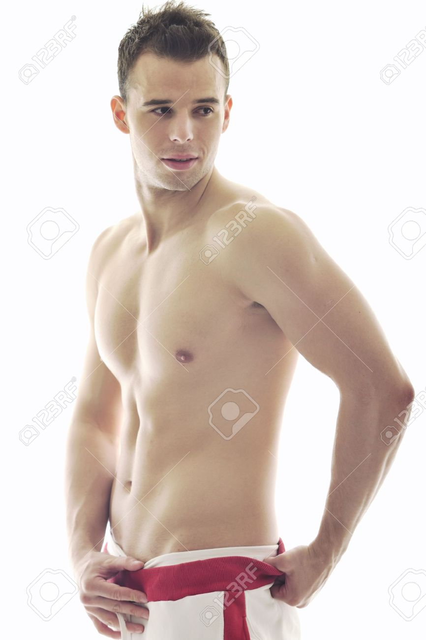 handsome young man with muscles and fit body isolated on white Stock Photo - 6878783