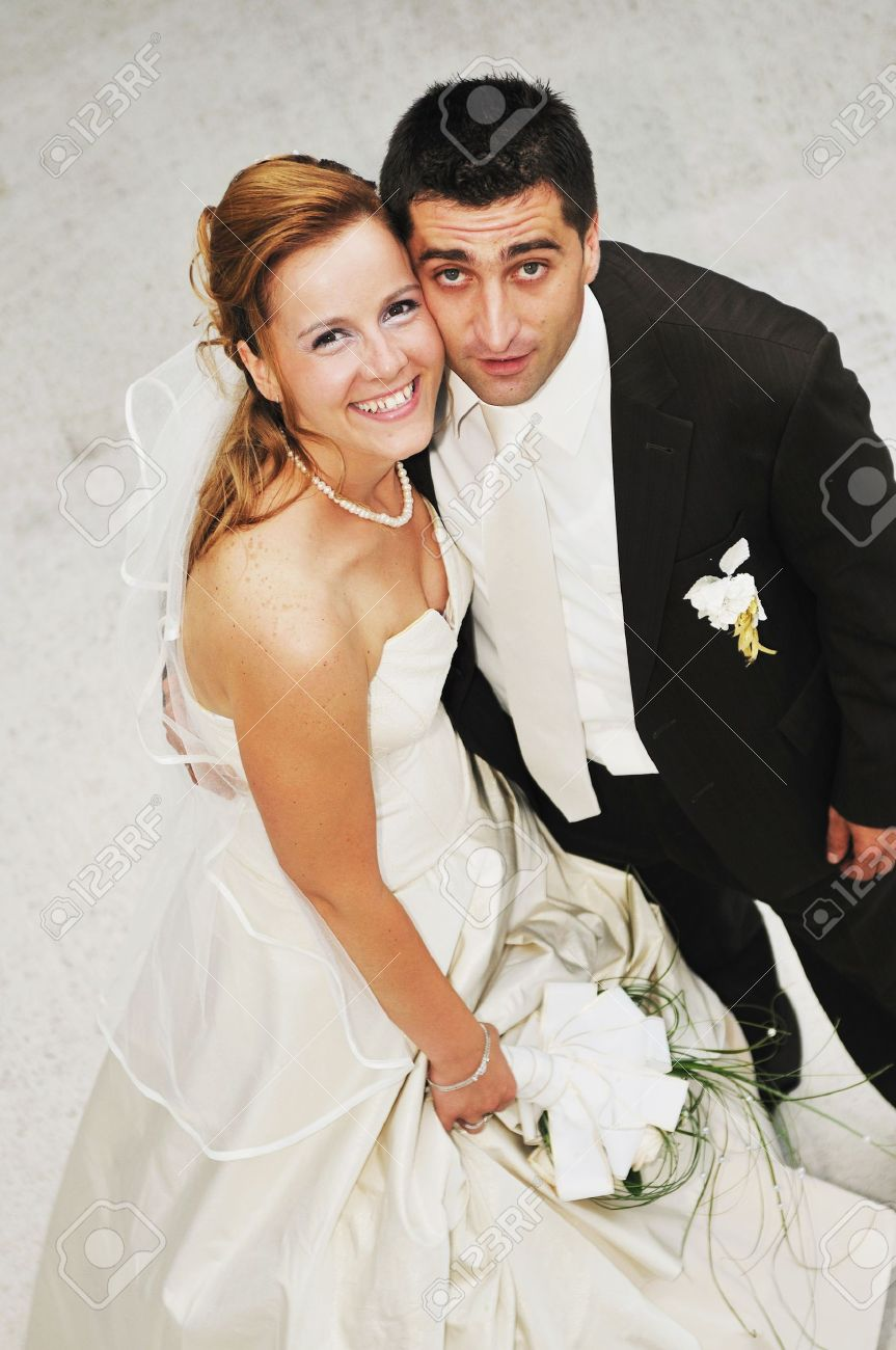 happy young and beautiful bride and groom at wedding party  outdoor Stock Photo - 7221197
