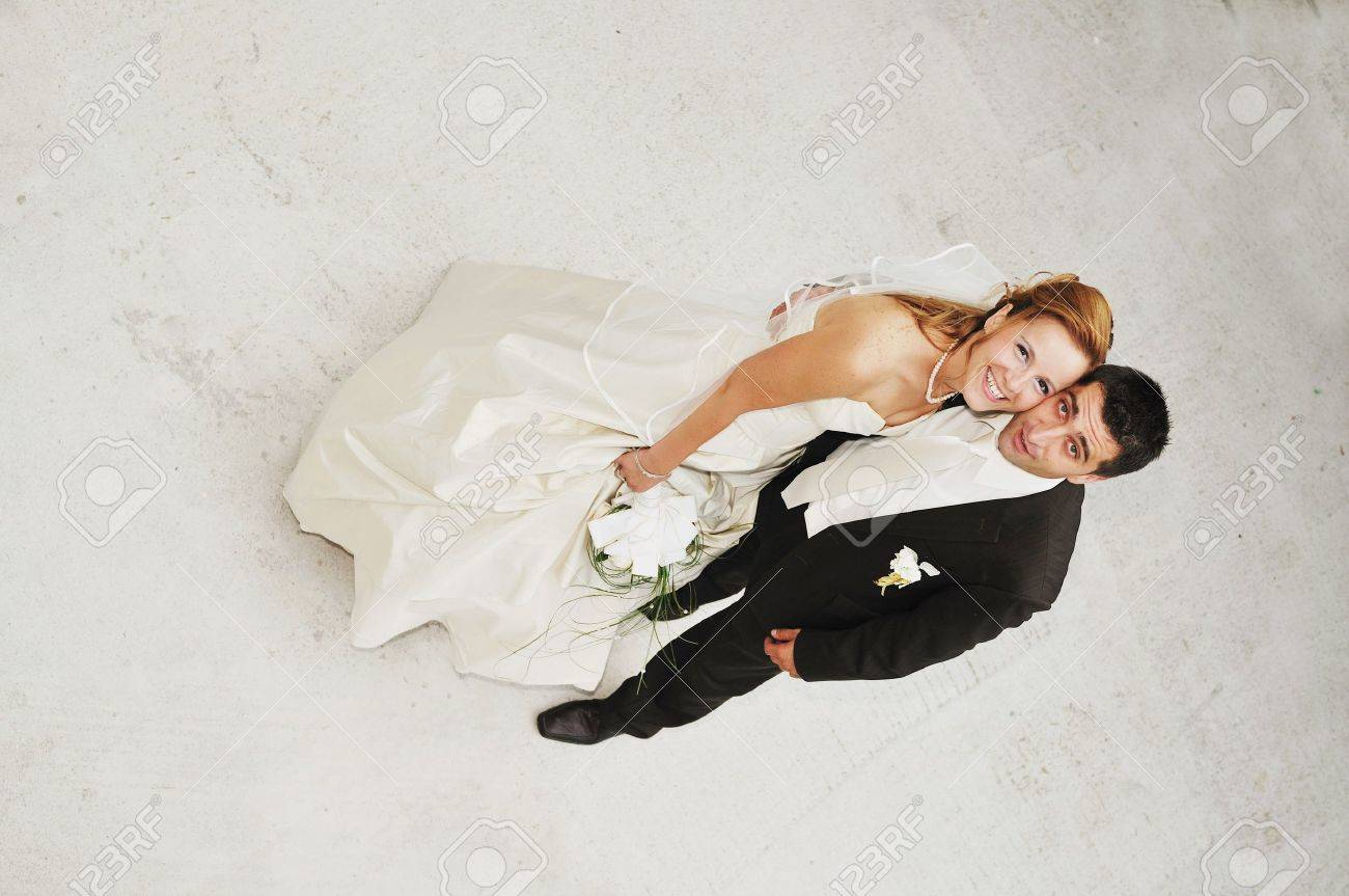 happy young and beautiful bride and groom at wedding party  outdoor Stock Photo - 7204952
