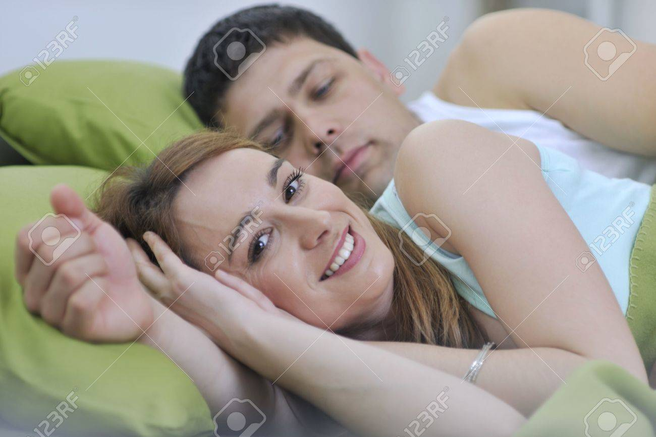 happy young couple in bed at morning Stock Photo - 7614939