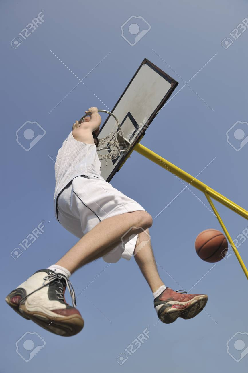 basketball player practicing and posing for basketball and sports athlete concept Stock Photo - 8313917