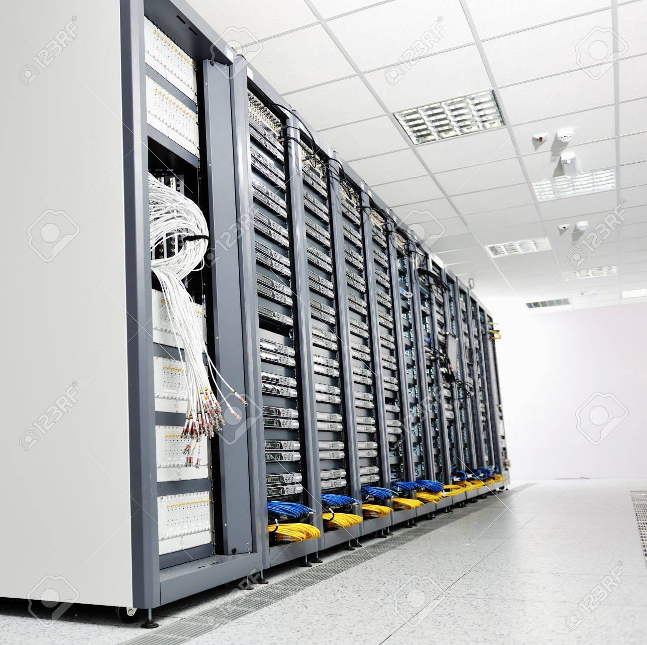 internet network server room with computers racks and digital