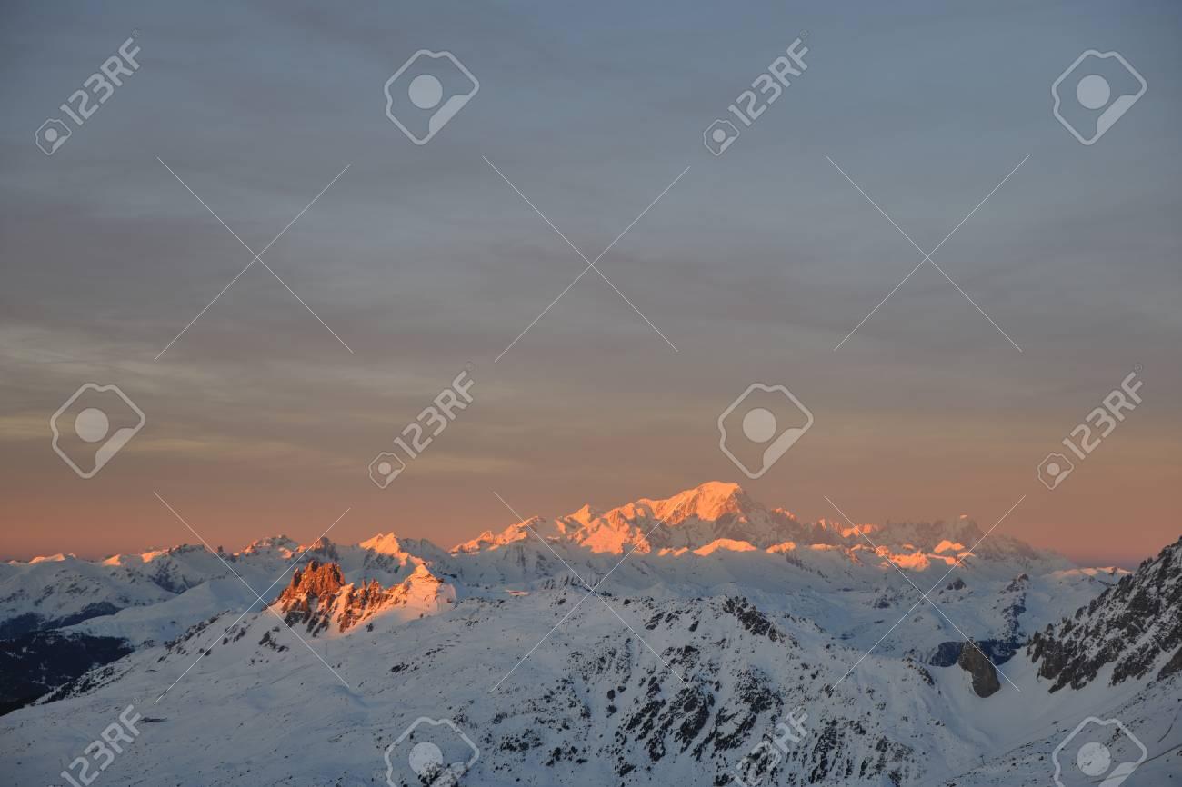 mountain snow fresh sunset at ski resort in france val thorens Stock Photo - 8757597