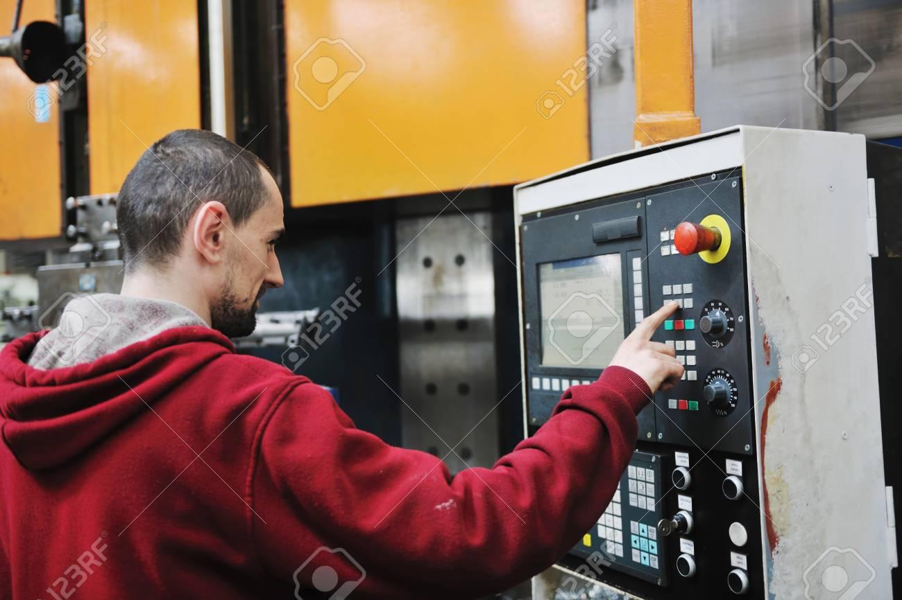 engineering people manofacturing industry with big modern computer mashines i company  hall Stock Photo - 9381418