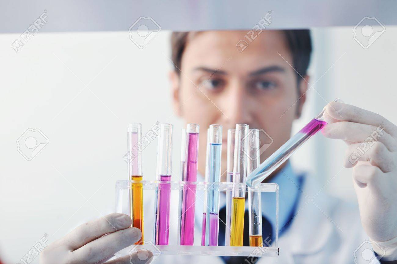 research and  science doctor student  people  in bright labaratory representing chemistry education and medicine concept Stock Photo - 9432548