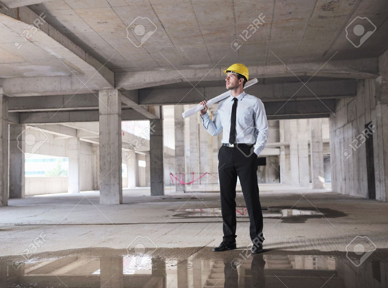 Construction Project business man Architect engineer manager at construction site Stock Photo - 10540237