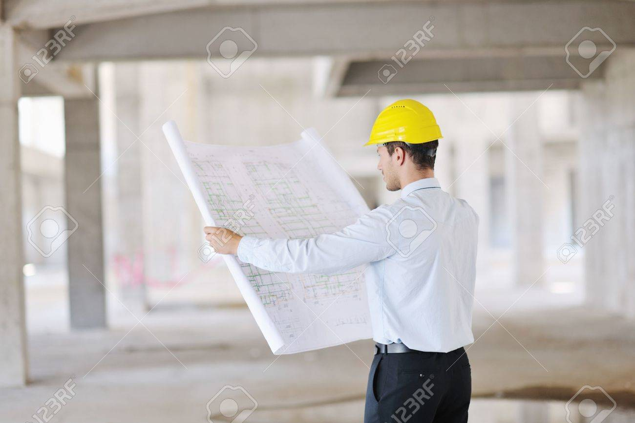 Construction Project business man Architect engineer manager at construction site Stock Photo - 10540837