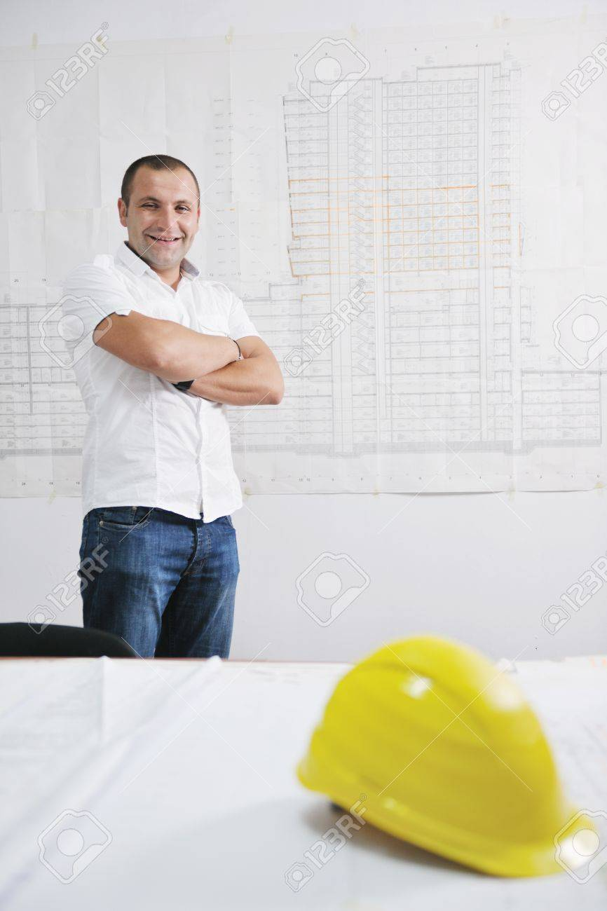 Construction Project business man Architect engineer manager at construction site Stock Photo - 10540771