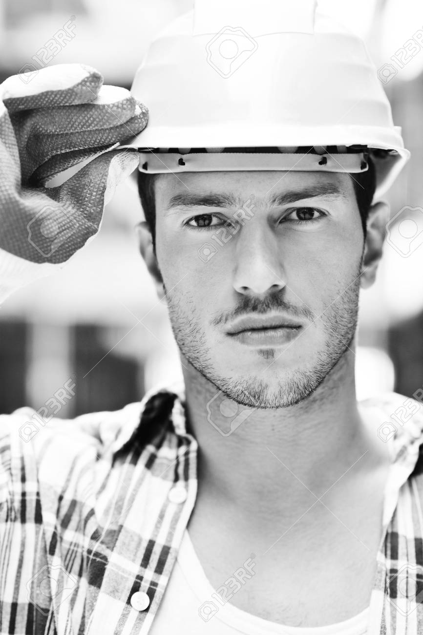 handsome hard worker people portrait at concstruction site Stock Photo - 10541041