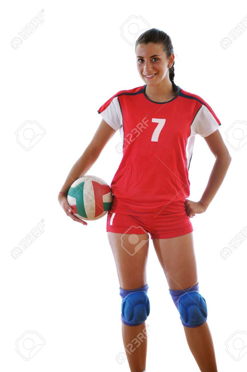 volleyball game sport with neautoful young girl oslated onver white background Stock Photo - 10778219