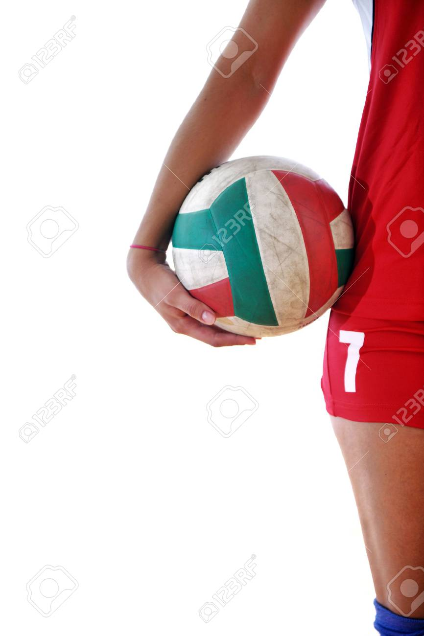 volleyball game sport with neautoful young girl oslated onver white background Stock Photo - 10746183