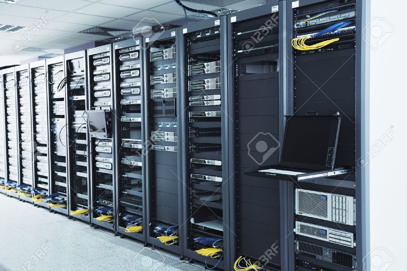 network server room with computers for digital tv ip communications and internet Stock Photo - 11022445
