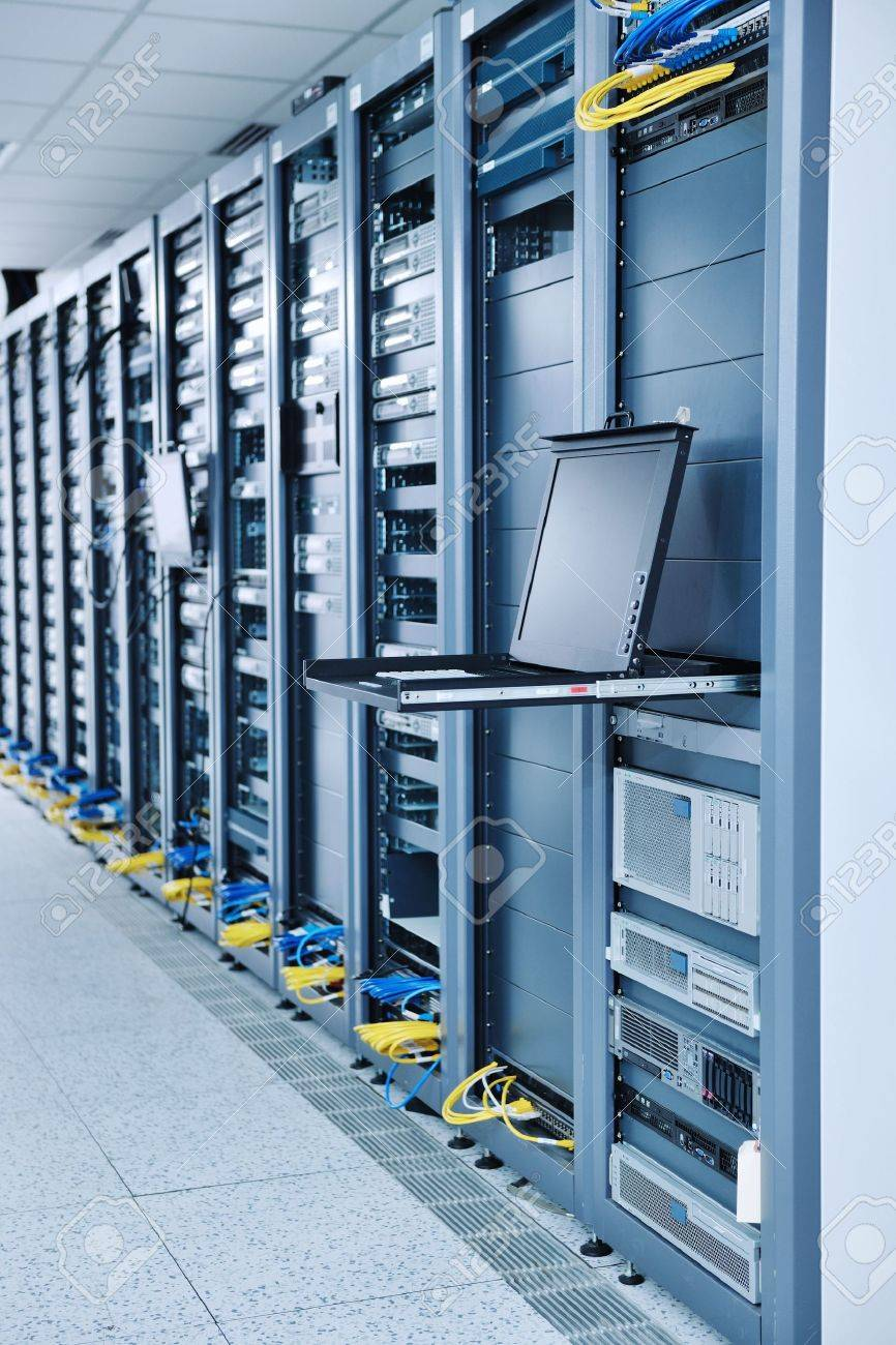 network server room with computers for digital tv ip communications and internet Stock Photo - 11022696