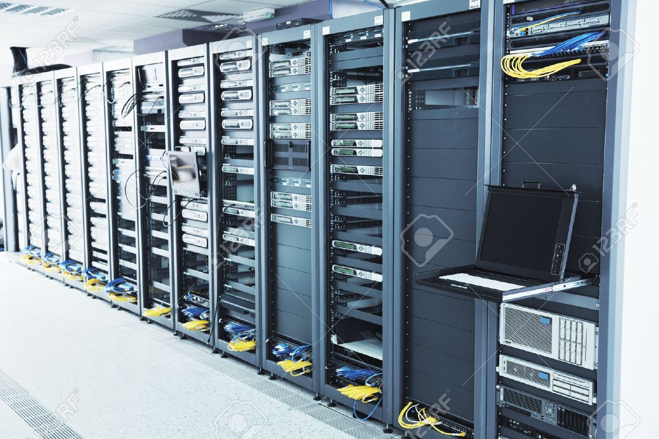 network server room with computers for digital tv ip communications and internet Stock Photo - 11448927