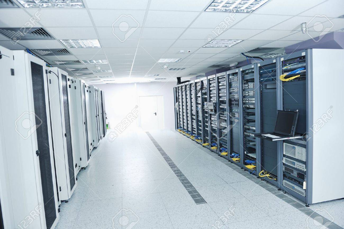 network server room with computers for digital tv ip communications and internet Stock Photo - 11718376