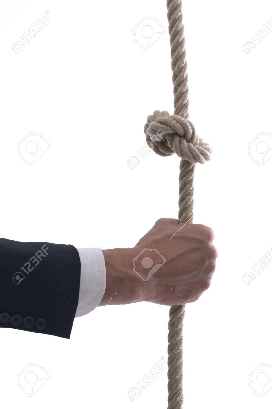 Business man pulling and bond tied with rope concept isolated on white background in studio Stock Photo - 12303815