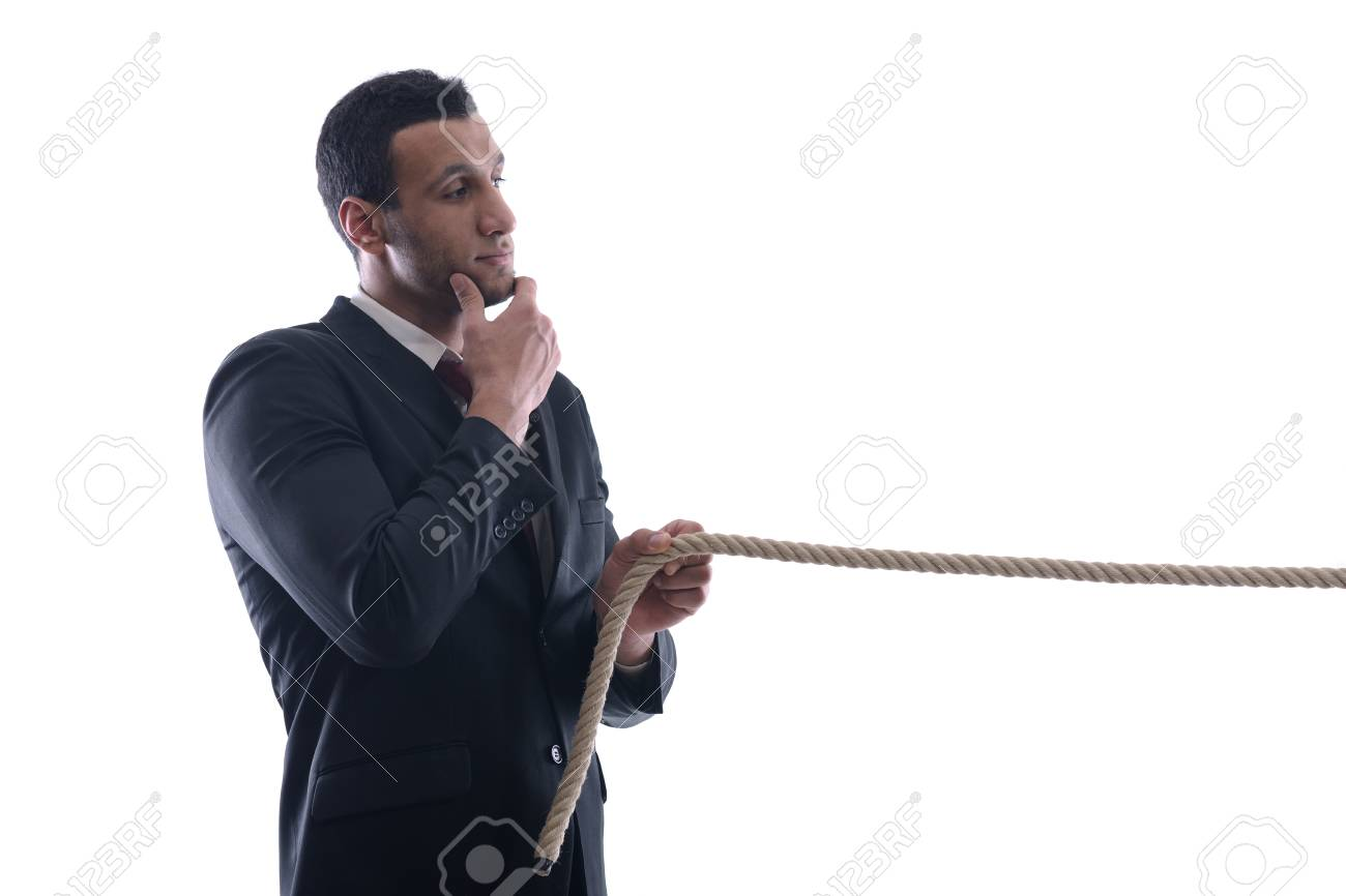 Business man with rope isolated on white background Stock Photo - 12303792