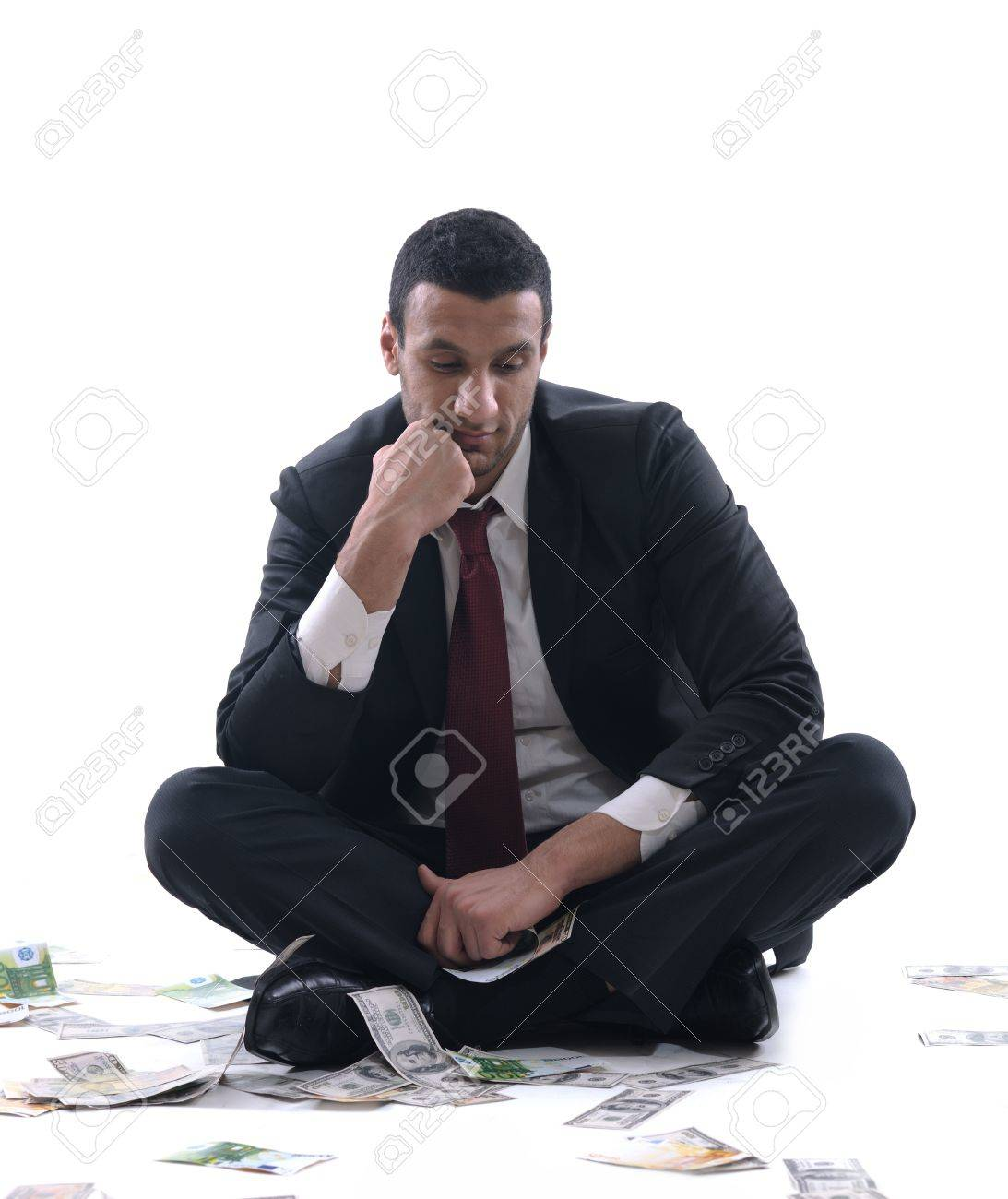 Business man holding money Stock Photo - 12303832