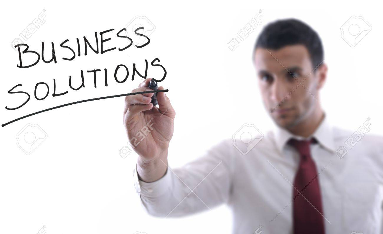 business man draw business solutions and plan b concept  with marker on glass  isolated on white background  in studio Stock Photo - 12303977