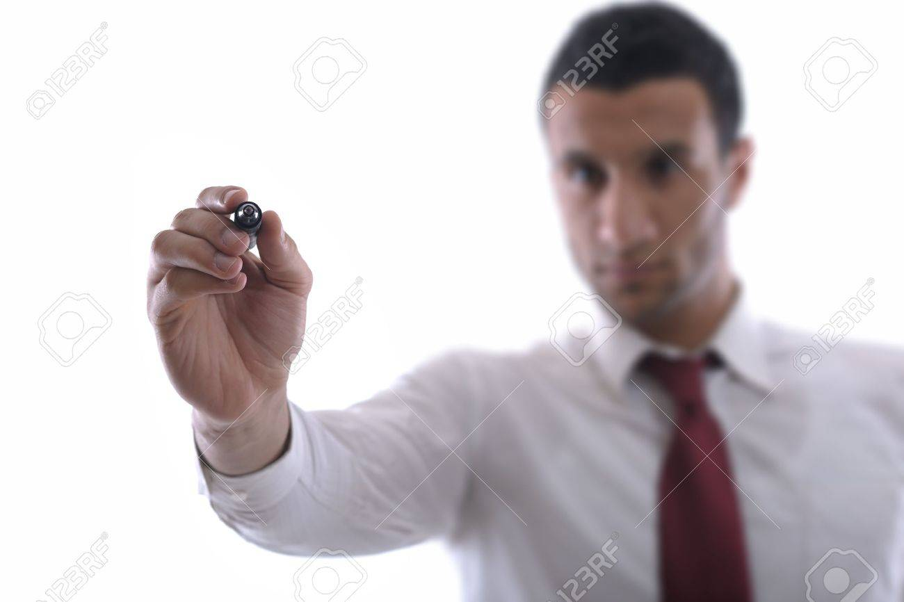 business man draw with marker on empty copy space isolated on white in studio Stock Photo - 12560172