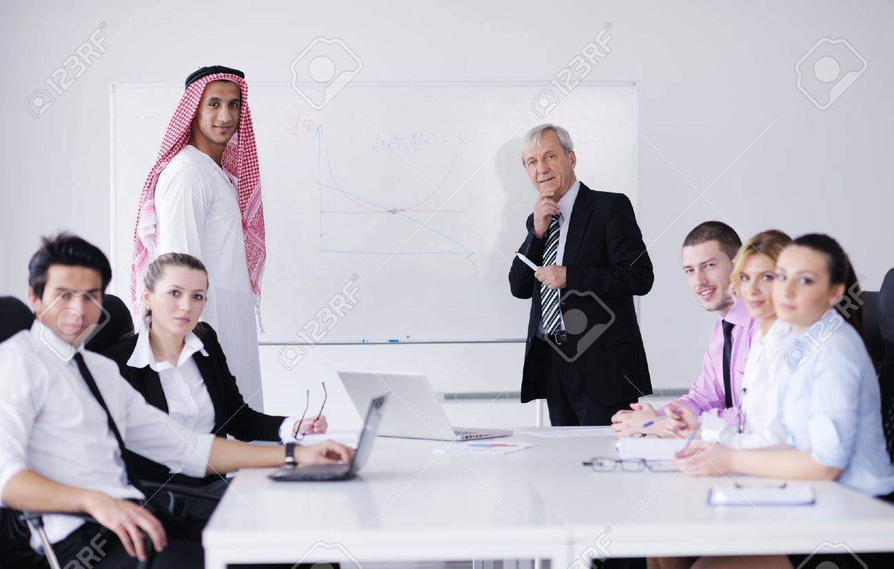 Business Meeting - Handsome Young Arabic Man Presenting His ...