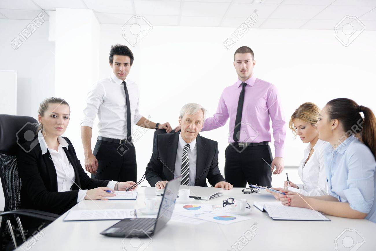 business people  team  at a meeting in a light and modern office environment. Stock Photo - 12565216