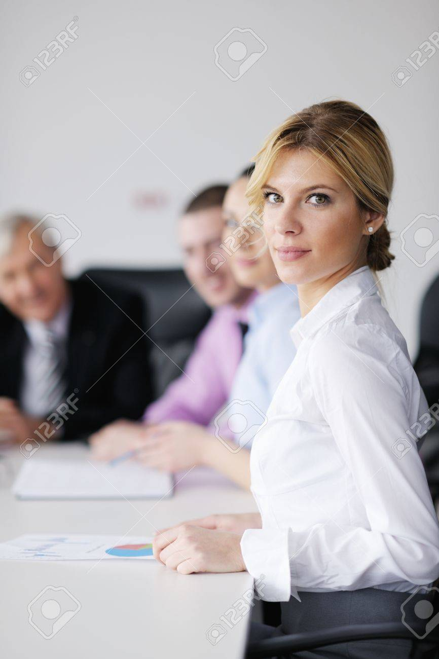 business people  team  at a meeting in a light and modern office environment. Stock Photo - 12565175