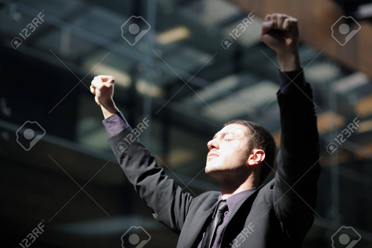business man spread arms and representing freedom success and winner concept Stock Photo - 12766987