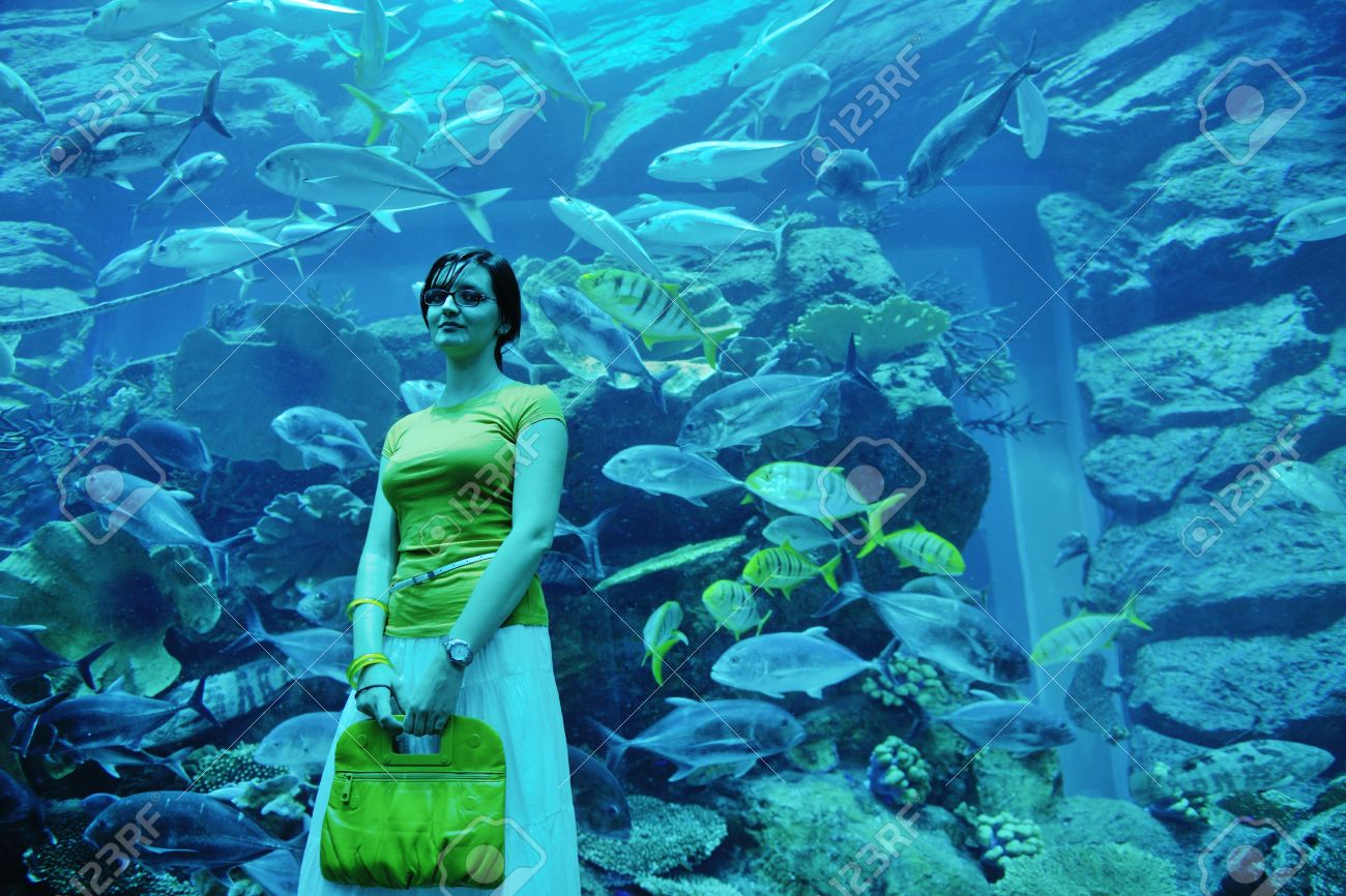 Fish in big aquarium - Stock Photo Young Woman With Big Blue Aquarium Withmany Fish In Background